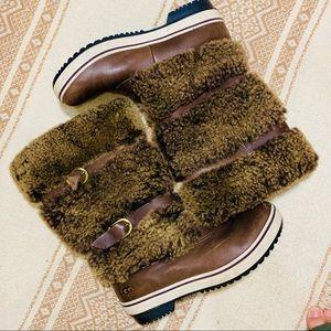 {UGG} Sheepskin Triple Buckle Winter Boots